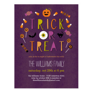 Trick or Treat Halloween Party Invitation Postcard
