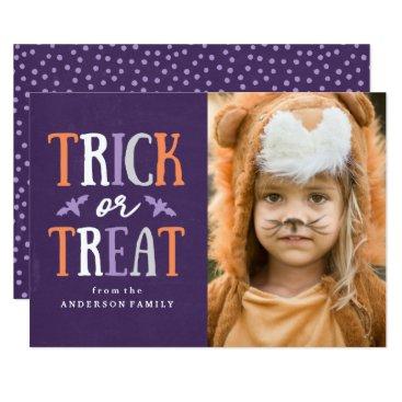 Halloween Themed Trick or Treat   Halloween Photo Card