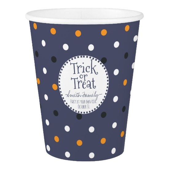 Trick or Treat. Halloween Polka Dots. Paper Cup