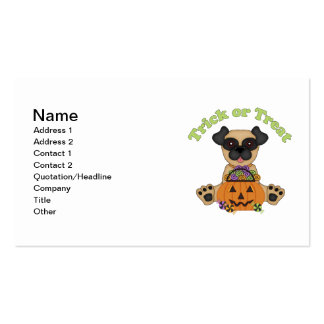 Trick or Treat Halloween Pugs Double-Sided Standard Business Cards (Pack Of 100)