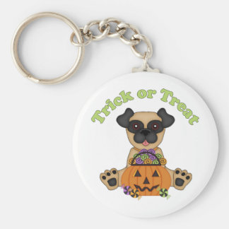 Trick or Treat Halloween Pugs Keychain