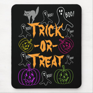Trick-or-Treat Halloween Pumpkin Ghost Cat Mouse Pad