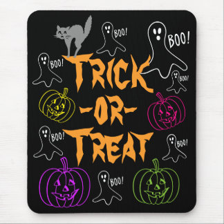 Trick-or-Treat Halloween Pumpkin Ghost Cat v2 Mouse Pad