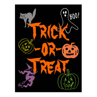 Trick-or-Treat Halloween Pumpkin Ghost Witch Postcard