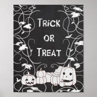 Trick or Treat Halloween Pumpkin Patch Chalkboard Poster