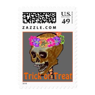 trick or Treat Halloween Skull Postage Stamp