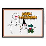Trick or Treat Halloween Snowmen Greeting Card