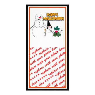 Trick or Treat Halloween Snowmen Photo Greeting Card