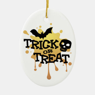 Trick Or Treat Halloween Splat Ceramic Ornament