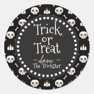 Trick Or Treat. Halloween Sugar Skulls. Classic Round Sticker