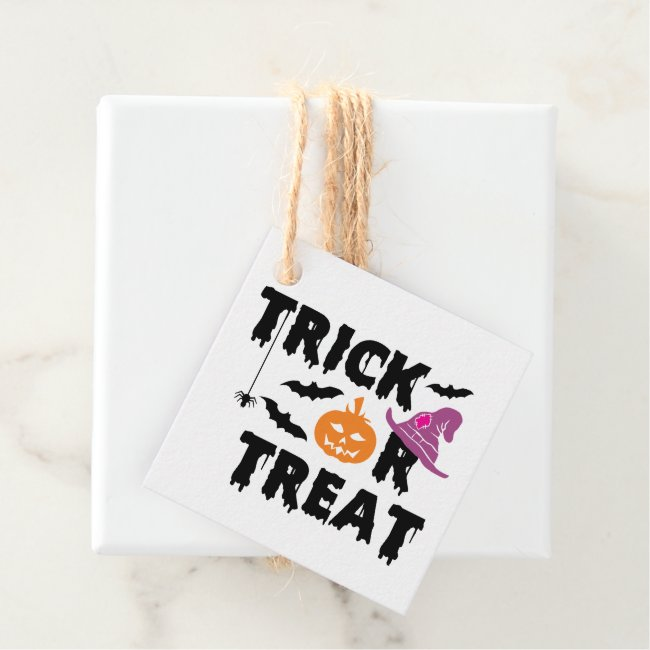 Trick or Treat Halloween Typography Personalized Favor Tags