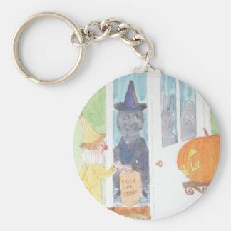 Trick-or-Treat Halloween Watercolor Keychain