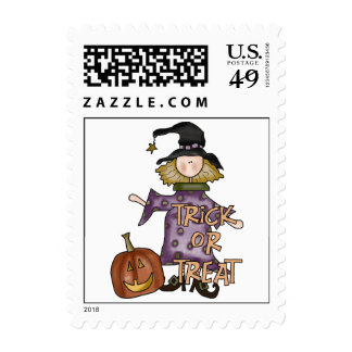 Trick Or Treat Halloween Witch Postage Stamps