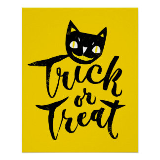 Trick or Treat - Hand Lettering Design Poster