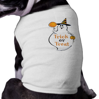 Trick or Treat Happy Ghost Dog T Shirt