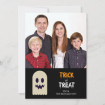 Trick or Treat Happy Halloween Ghost Photocard Holiday Card