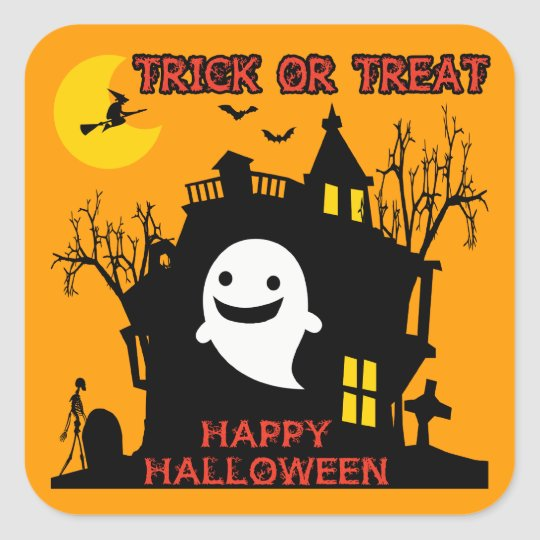 Trick or Treat, Happy Halloween Square Sticker