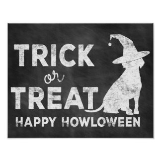 Trick or Treat, Happy Howloween Doggie Witch Poster