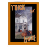 TRICK OR TREAT HAUNTED HOUSE HALLOWEEN GREETING CARD