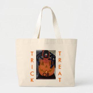 Trick or Treat, Jack-o-lantern&Spider Large Tote Bag