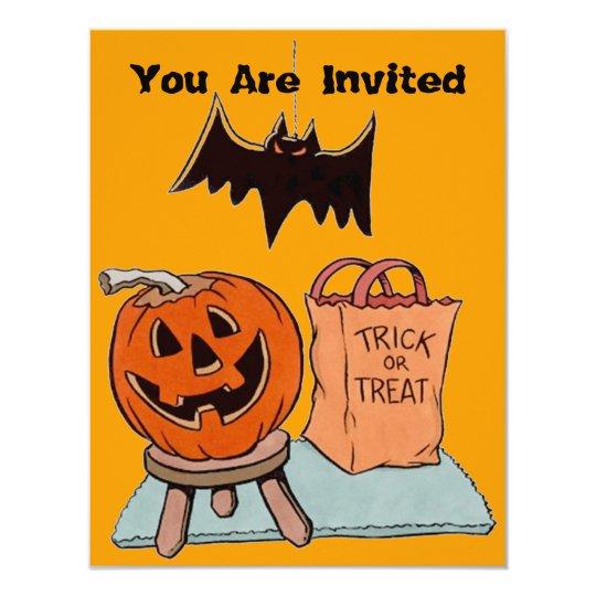 TRICK OR TREAT JOL BAT HALLOWEEN PARTY INVITATION
