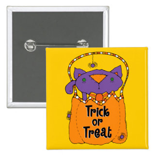 Trick or Treat Kitty 2 Inch Square Button