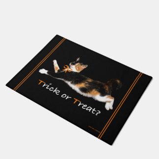 """""""Trick or Treat Kitty"""" Door Mat"""