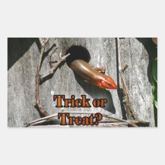 Trick or Treat? Large Lizard hanging out Birdhouse Rectangular Sticker