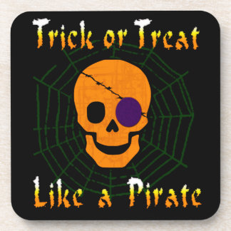 Trick or Treat like a Pirate Beverage Coasters