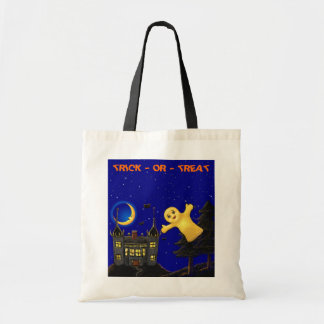 TRICK OR TREAT LIL GHOST HALLOWEEN TOTE BAGS