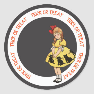 Trick or Treat Little Girl Yellow Dress Black Cat Classic Round Sticker