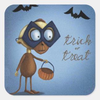 Trick or Treat Masked Monkey Bats Square Sticker