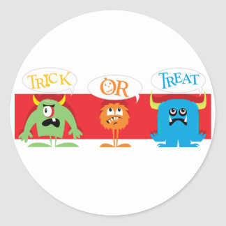 Trick or Treat Monsters Classic Round Sticker