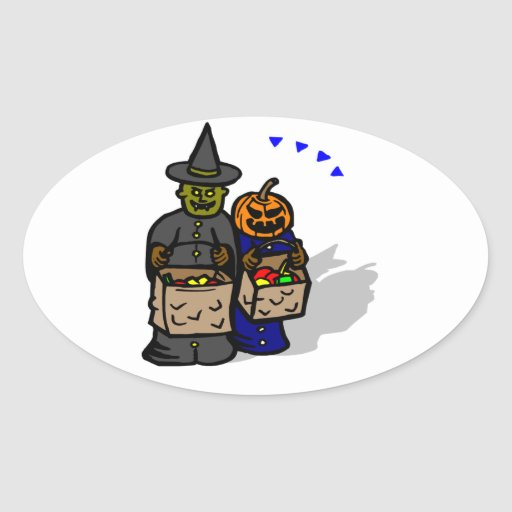 Trick Or Treat Monsters Oval Stickers