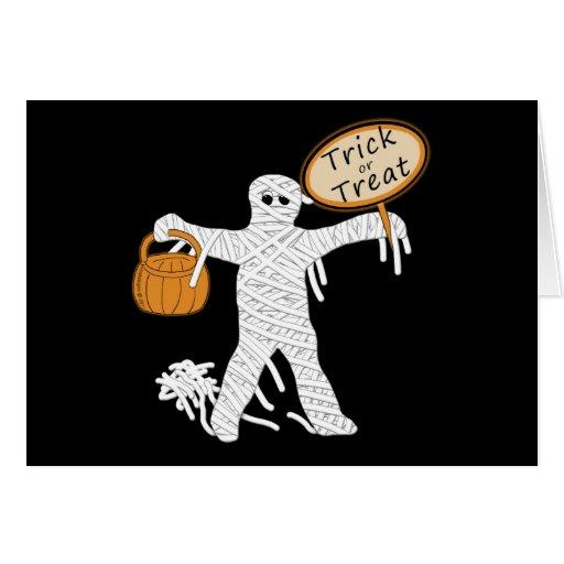 Trick Or Treat Mummy Halloween Greeting Card
