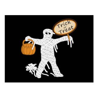 Trick Or Treat Mummy Halloween Postcard