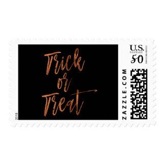 Trick or Treat Orange and Black Modern Stamp