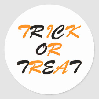 Trick or Treat Orange and Black Classic Round Sticker