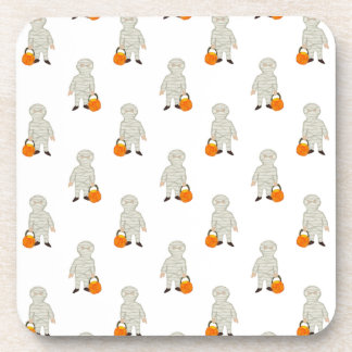 Trick or Treat Pattern Halloween Toddler Mummies Coasters
