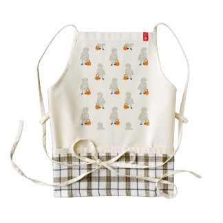 Trick or Treat Pattern Halloween Toddler Mummies Zazzle HEART Apron