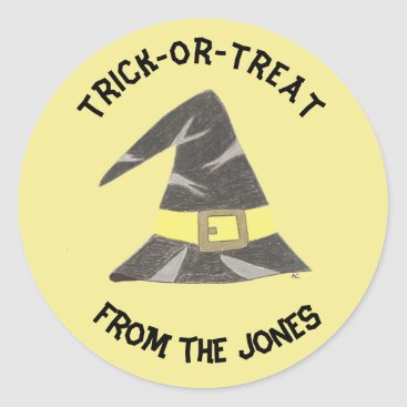 Halloween Themed Trick-or-treat personalized yellow stickers