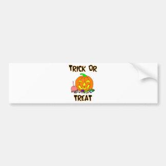 Trick Or Treat Pumpkin And Candy Bumper Sticker