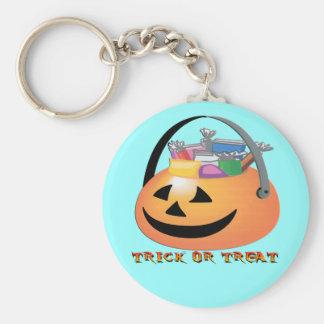 Trick or Treat Pumpkin Basic Round Button Keychain