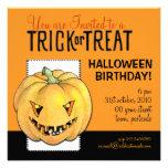 Trick or Treat Pumpkin Halloween Birthday Personalized Invites