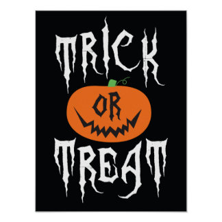 Trick or Treat Pumpkin Halloween Party Poster