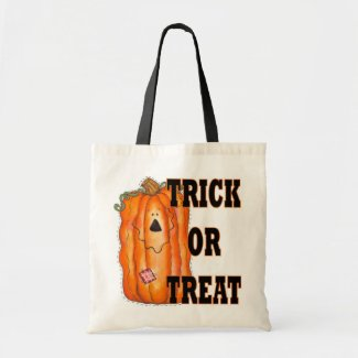 Trick Or Treat Pumpkin Halloween Tote Bags