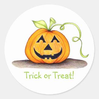 """Trick or Treat"" Pumpkin Sticker"