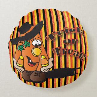 Trick or Treat Pumpkin Stripes | Halloween Round Pillow