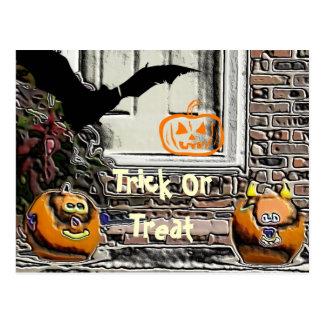 Trick or Treat Pumpkins and Bat Postcard