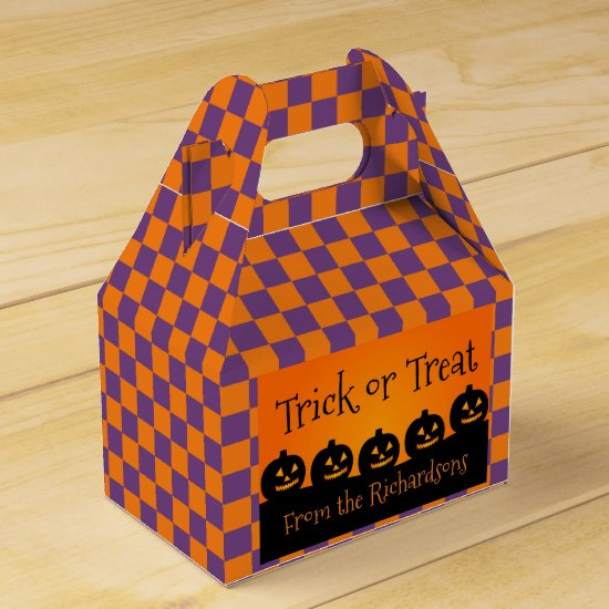 Trick or Treat, Pumpkins, Orange & Purple Checks Favor Box